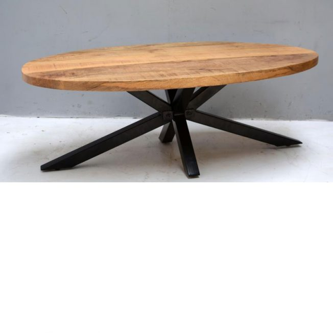 Ovalen Salon Tafel.Mango Ovale Salontafel Met Stalen Matrix Poot